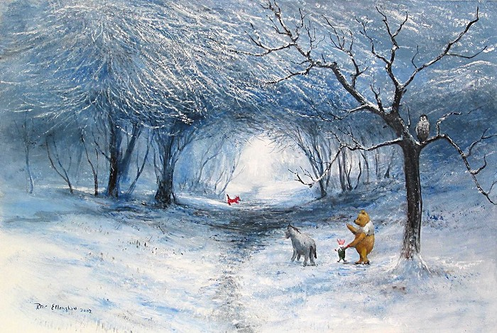 Peter Ellenshaw Winter Walk - From Disney Winnie the Pooh Giclee On Canvas