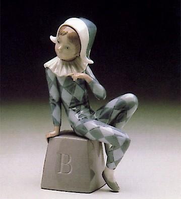 LladroHarlequin Letter B 1980-85Porcelain Figurine