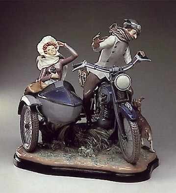 Lladro Motor Bike And Sidecar 1982-85 Porcelain Figurine