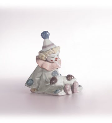 Lladro Pierrot With Puppy 1985-07 Porcelain Figurine