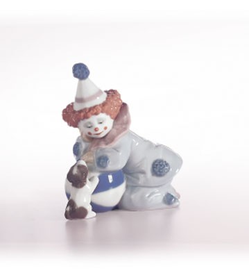 Lladro Pierrot With Puppy & Ball 1985-07