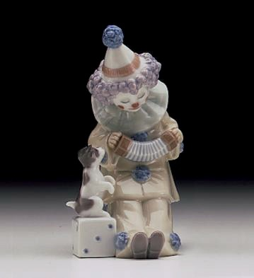 Lladro Pierrot With Concertina 1985-07
