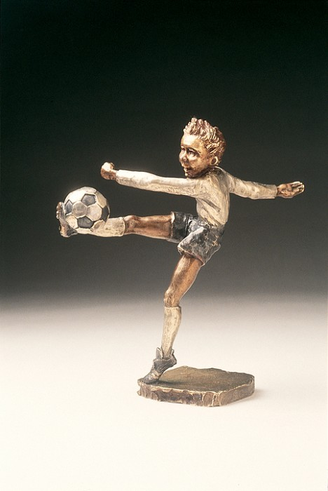 Mark Hopkins Corner Kick Bronze Sculpture