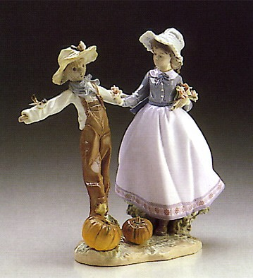 Lladro Scarecrow With Lady 1986-96 Porcelain Figurine