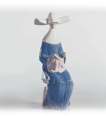 Lladro Time To Sew (blue) 1988-04 Porcelain Figurine