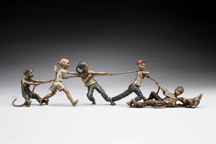 Mark HopkinsTug-O-WarBronze Sculpture