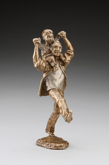 Mark Hopkins Shoulder Ride (boy) Bronze Sculpture