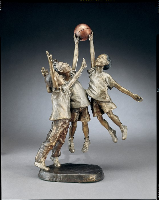 Mark Hopkins Shootin' Hoops Bronze Sculpture