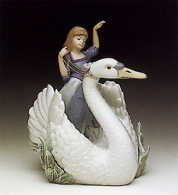Lladro Swan And The Princess 1990-94 Porcelain Figurine