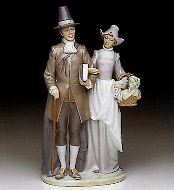 LladroPilgrim Couple 1991-93Porcelain Figurine