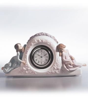 LladroTwo Sisters Clock 1990-02Porcelain Figurine