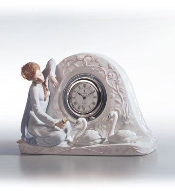 LladroSwan Clock 1991-02Porcelain Figurine