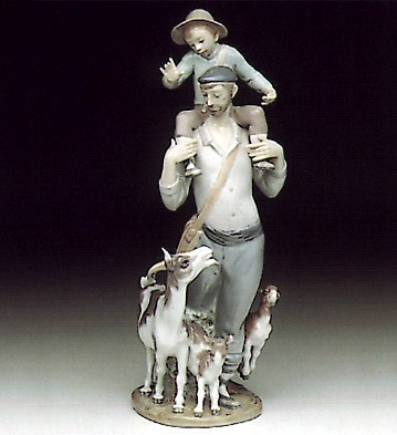 Lladro Walking The Fields Porcelain Figurine
