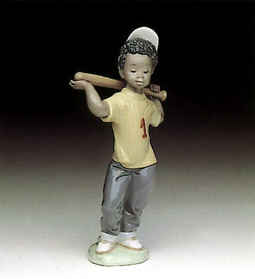 Lladro Black Legacy Next At Bat Porcelain Figurine