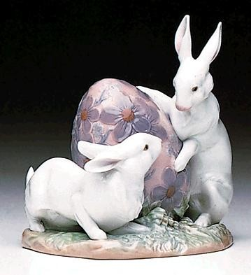 Lladro Easter Bunnies 1992-96 Porcelain Figurine
