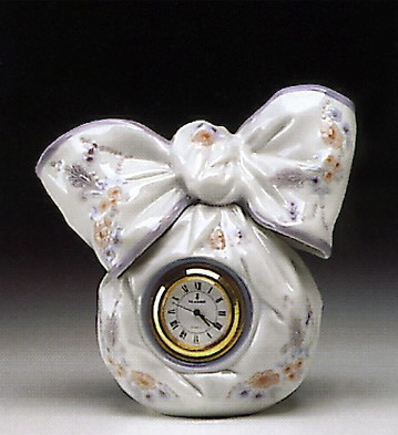 Lladro Bow Clock 1993-00 Porcelain Figurine