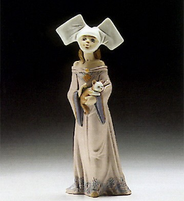 Lladro Medieval Maiden With Cat 1994-96 *** Porcelain Figurine
