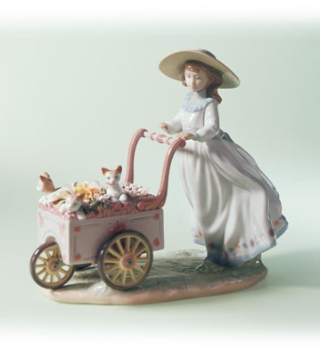 Lladro Kitty Cart Porcelain Figurine