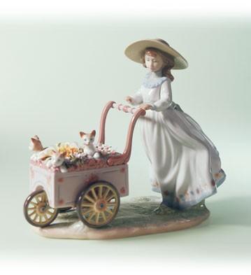 LladroKitty CartPorcelain Figurine