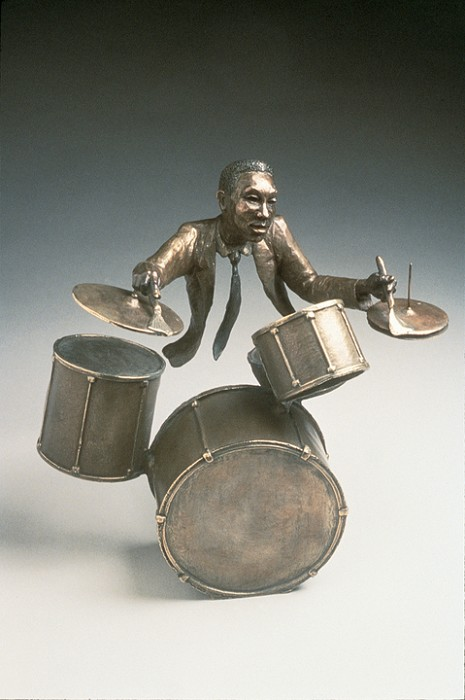 Mark Hopkins Jazz Drums Bronze Sculpture
