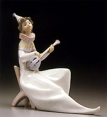 Lladro Young Jester With Mandolin 1995-97 Porcelain Figurine