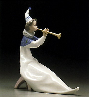 Lladro Young Jester With Trumpet 1995-97 Porcelain Figurine
