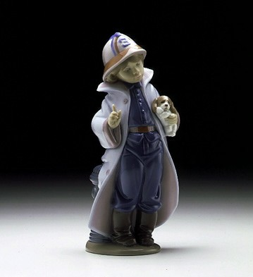 Lladro Little Firefighter 1997-00 Porcelain Figurine
