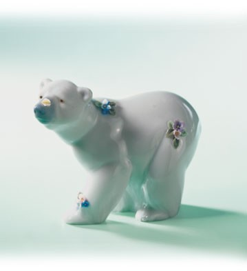 Retired Lladro Attentive Polar Bear W/flwrs