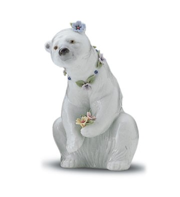 Lladro Resting Polar Bear With Flowers 1997-01