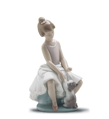 Lladro Little Ballerina With Cat 1997-2001 Porcelain Figurine