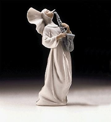 Lladro Sister With Saxaphone Usa 1997-99 Porcelain Figurine