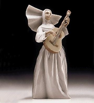 Lladro Sister With Guitar Usa 1997-99 Porcelain Figurine