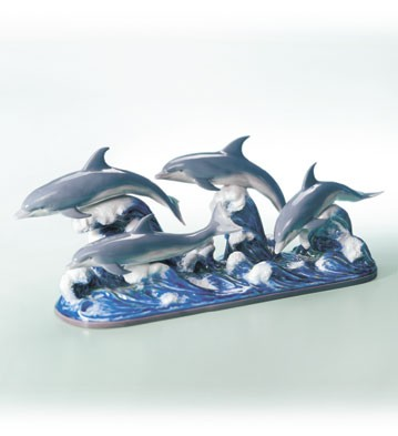 Lladro The Dolphins Porcelain Figurine