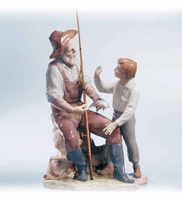 Lladro A Fishing Lesson 00-02 Porcelain Figurine