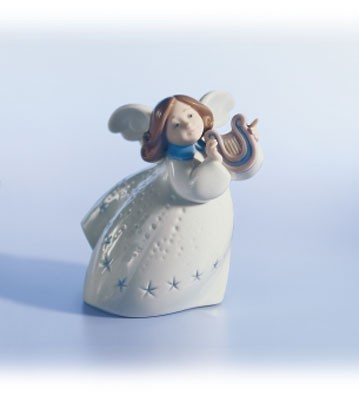 Retired Lladro Little Angel With Lyre
