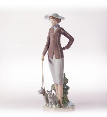 LladroWalking The DogsPorcelain Figurine