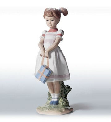 Lladro Little School Girl Porcelain Figurine