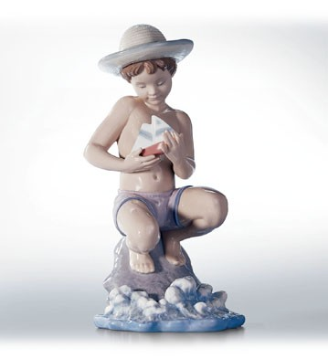 Lladro By The Seashore Porcelain Figurine