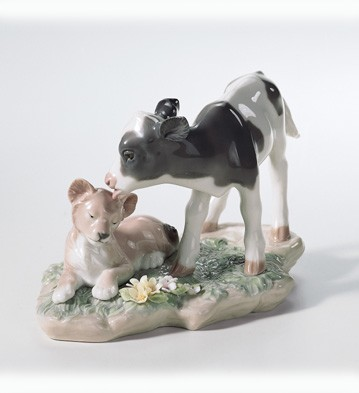 Lladro And The Calf And The Young Lion 2003-07 Porcelain Figurine