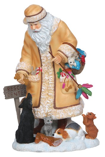 Pipka Santa With Cats And Dogs Figurine