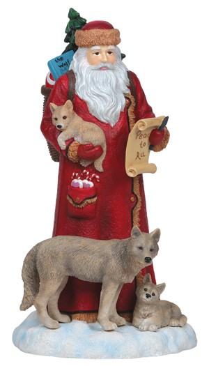 Pipka Santa With Wolves Figurine