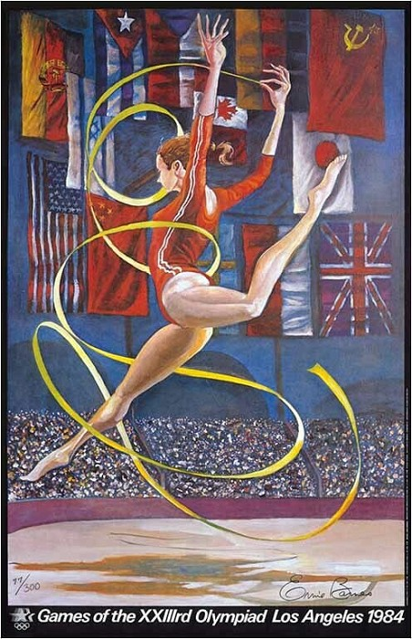 Ernie Barnes Olympic Gymnast Signed Limited Edition Lithograph