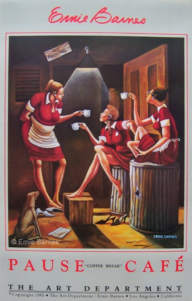 Ernie Barnes Pause Cafe'/cofee Break-Signed Lithograph