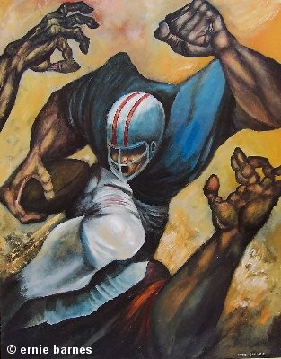 Ernie Barnes The Fullback Artist Signed Lithograph