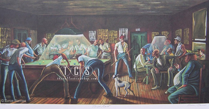 Ernie Barnes Eight Ball Artist Signed Lithograph