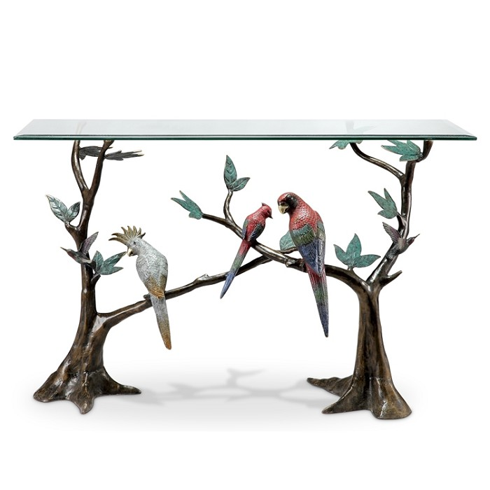 SPI Sculptures Tropical Bird Flock Console Table