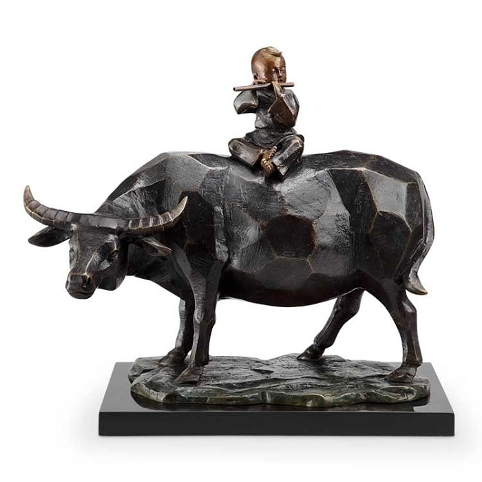 SPI SculpturesContemplation (Flutist and Bull)