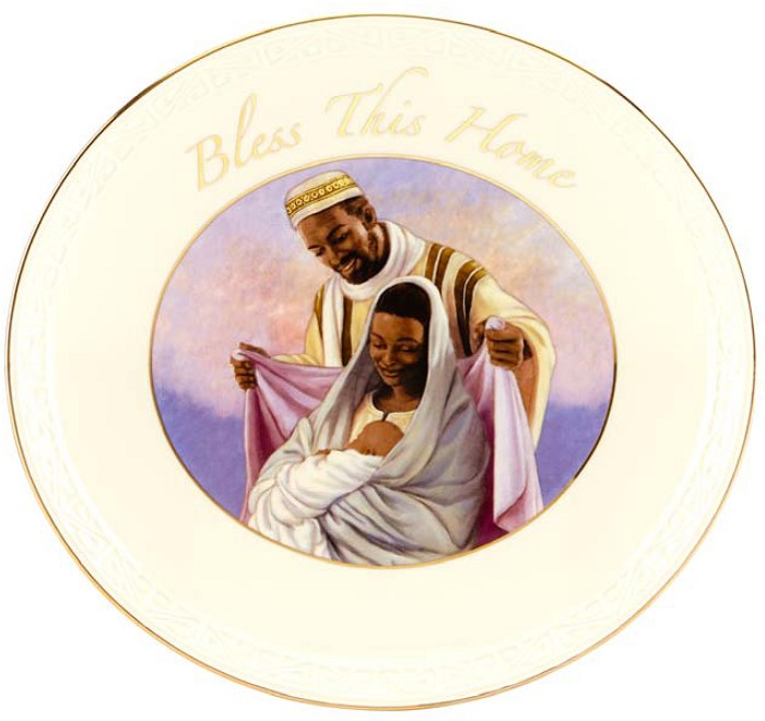 Ebony Visions Bless This Home Porcelain Wall Plaque