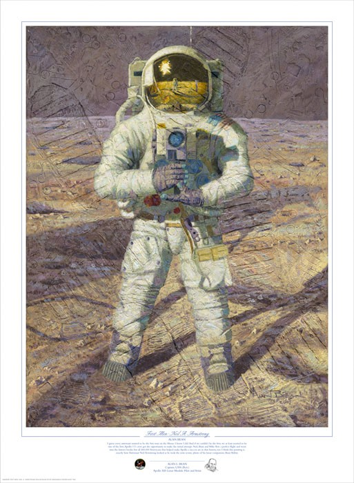 Alan Bean First Men Neil A. Armstrong MASTERWORK TEXTURED CANVAS Print