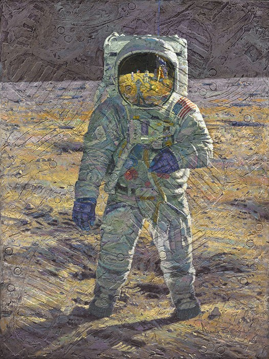 Alan Bean First Men Edwin E. Buzz Aldrin MASTERWORK EDITION Canvas